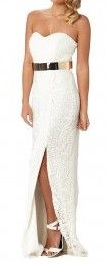 White Lace Straight Line Gown S14
