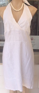 White Linen Halter Dress S10