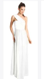 One Shoulder White Chiffon Gown S8