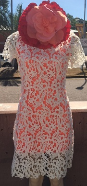 White Orange Crochet Dress S12