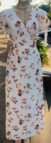 White Orange Print Wrap Maxi S10,12