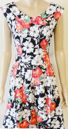 Red White Black Floral Cotton Dress S14,16
