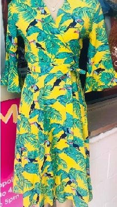 Wrap Bird Print Dress Yellow S8,10,12 Dull S8,10,12