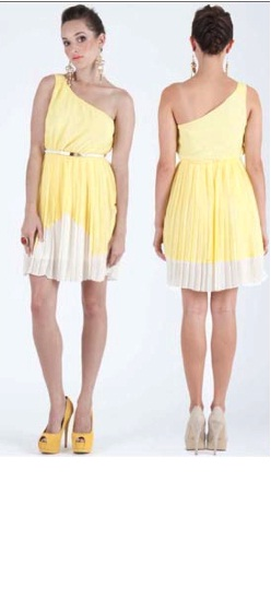One shoulder Yellow Pleated Dress S8