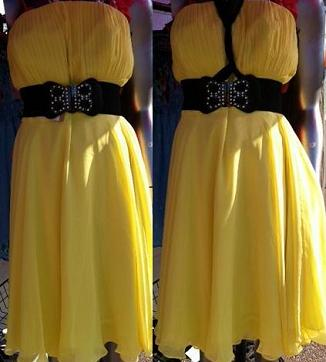 Yellow Chiffon Knee Length S14, 16  Red S6,8,10,12,16,18,20