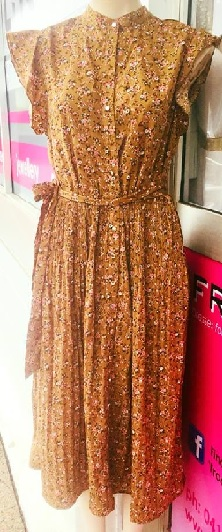 Zenny Brown Floral Dress S8,10,12,14