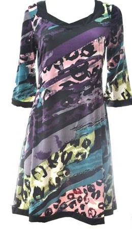 Purple Print 3/4 Sleeve Dress S12/14